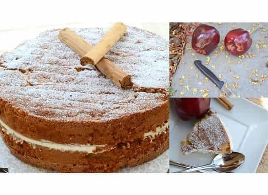 Apple and cinnamon cake with whole wheat flour and oats