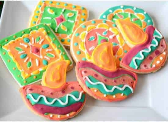 Sugar cookies – Diwali diya and rangoli