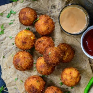 Corn Cheese Balls served on a plate.