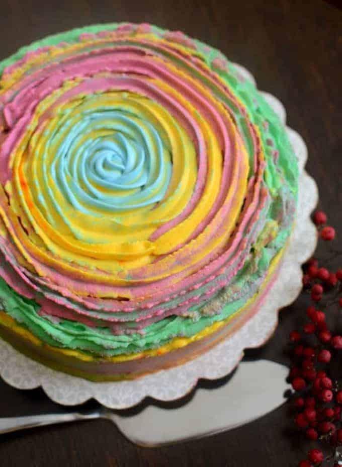 top view of holi cake