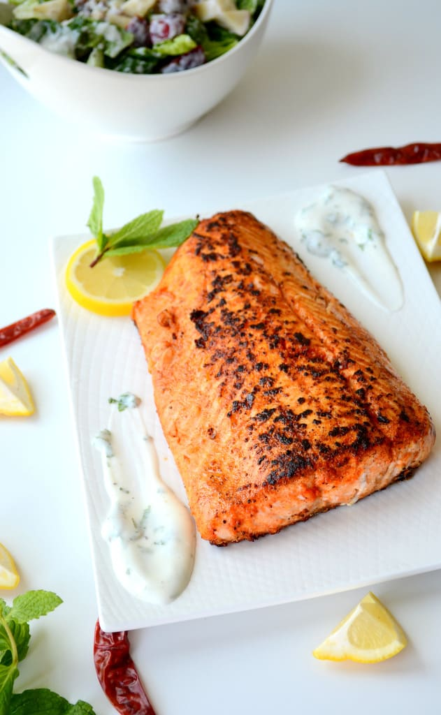 Indian spiced pan seared Salmon with yogurt mint dip