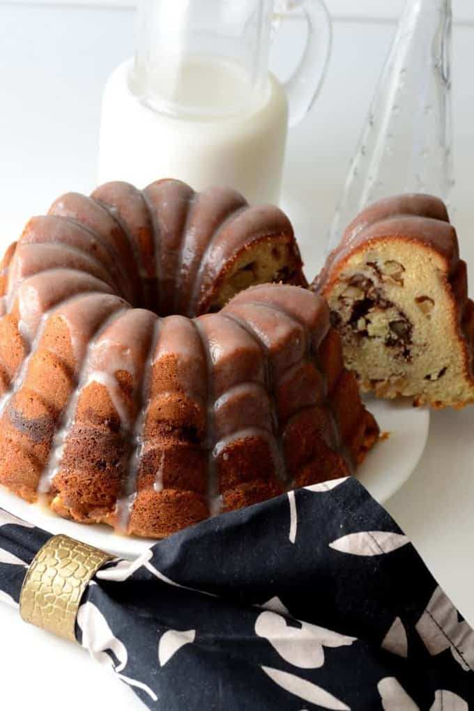 Apple and Pecan coffee cake with Browned Butter Glaze