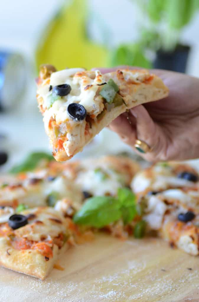 Homemade Pizza With Chicken And Veggies is really simple and easy to make. This all in one dish can be quickly rustled up for lunch or dinner.
