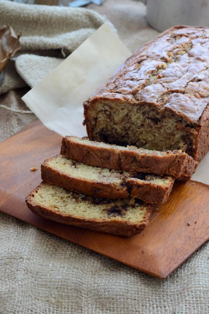 Olive Oil Banana Bread with Nutella Swirls