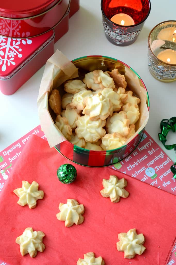 Buttery Piped Shortbread Cookies in a decorative box