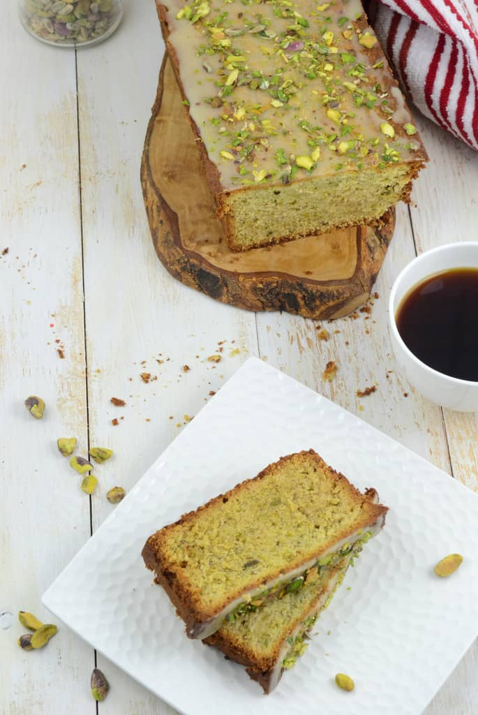Pistachio Pound Cake is a dense and moist pound cake with a prominent pistachio flavour. Make it at home using this recipe.
