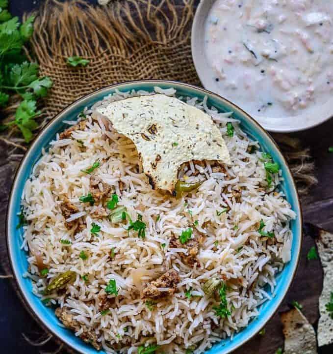 Punjabi Wadi Chawal served in a bowl.