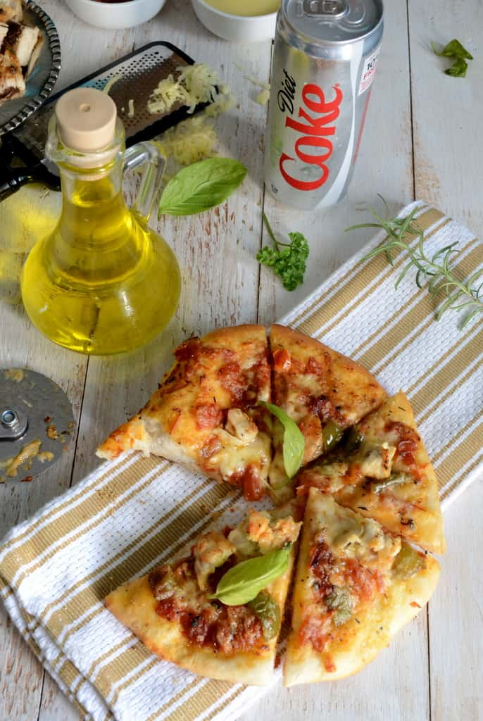 Grilled Chicken Pizza with Tomato Alfredo Sauce