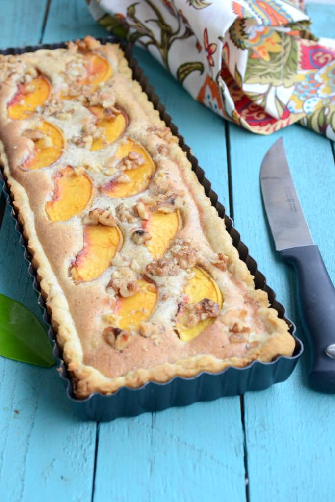 Peach and Walnut Frangipane Tart