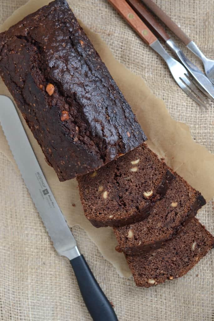Chocolate Banana Bread with Hazelnuts