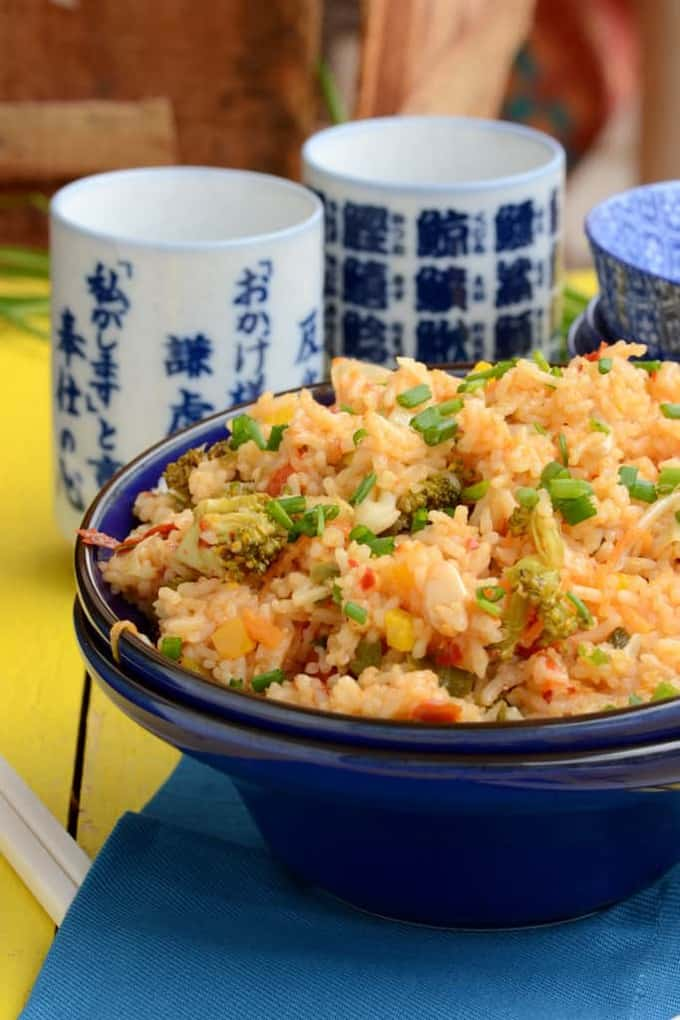 Schezwan Fried Rice is quick and easy to make Indo Chinese style Spicy rice. Use your left over rice to make this delicious recipe.