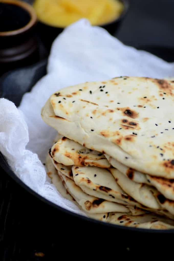 Naan is a soft, fermented flatbread which is very popular across India and many countries of the world. It is served with curries or Dal Makhani.