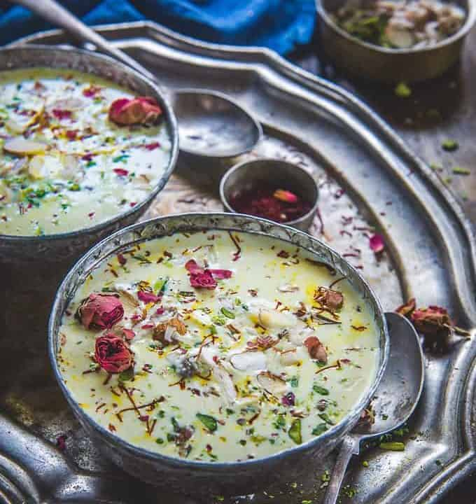 Rice kheer served in a bowl.