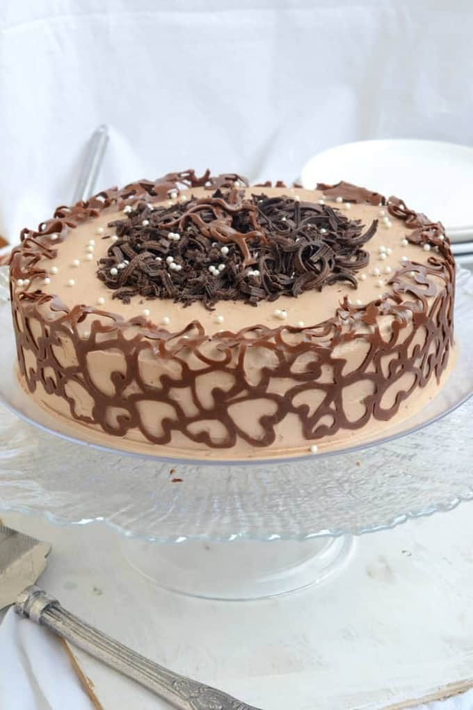 Chocolate and Coffee Cake with Chocolate Swiss Meringue Buttercream