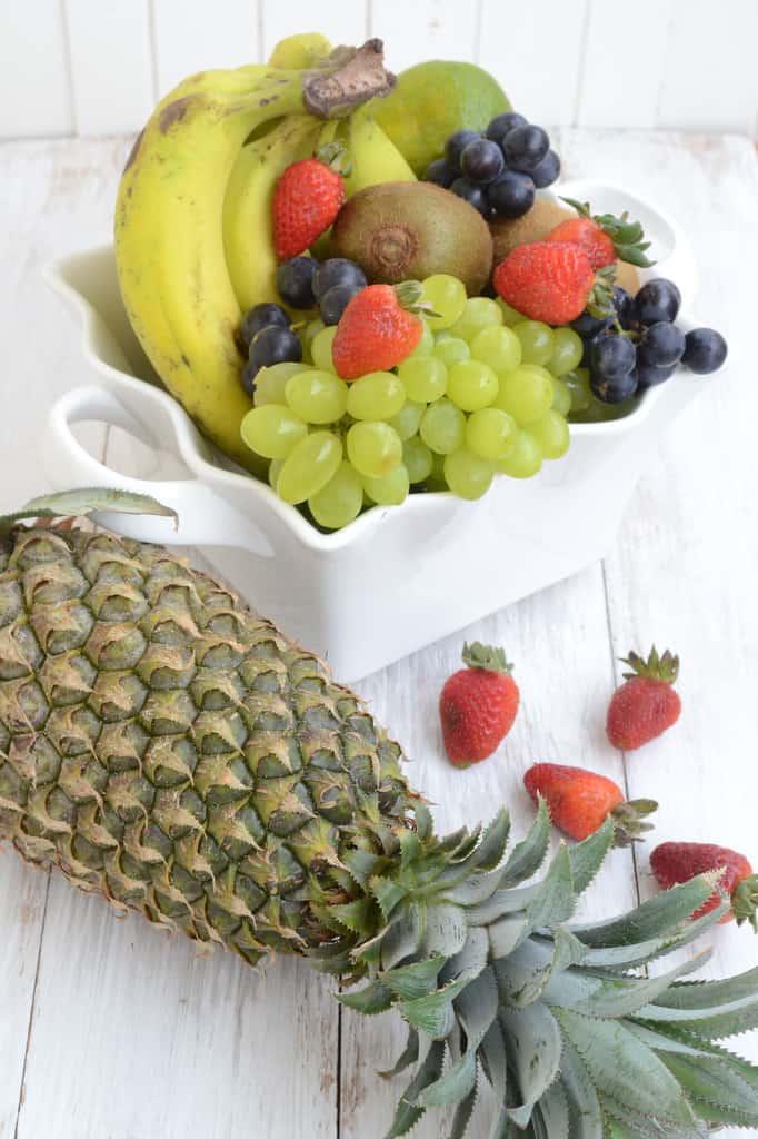 Fruit Skewers with Honey Vanilla Yogurt Dip - Whisk Affair