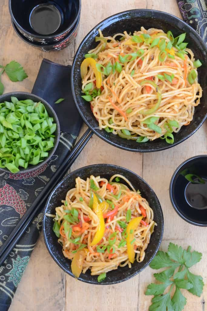 Chinese Vegetable Hakka Noodles are really easy to make, taste awesome with some tomato chilli sauce and are perfect one-pot meals.