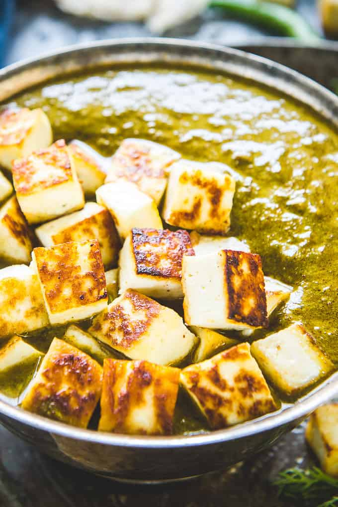 Close up shot of Kashmiri Methi Chaman Paneer.