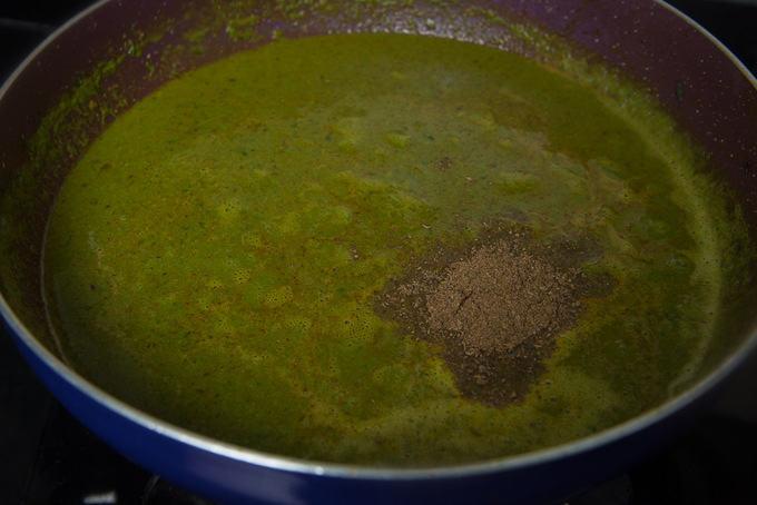 Garam Masala added in the pan.