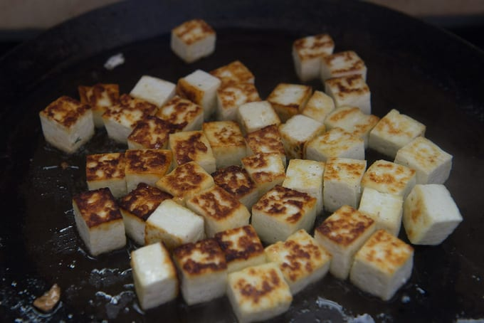 Fried paneer cubes.
