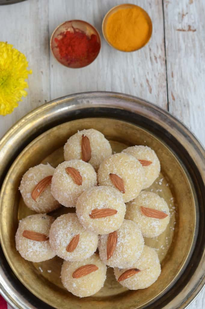 Nariyal Ke Ladoo made with dessicated coconut is a favorite in my house. It is very easy to put together and can be stored as well.