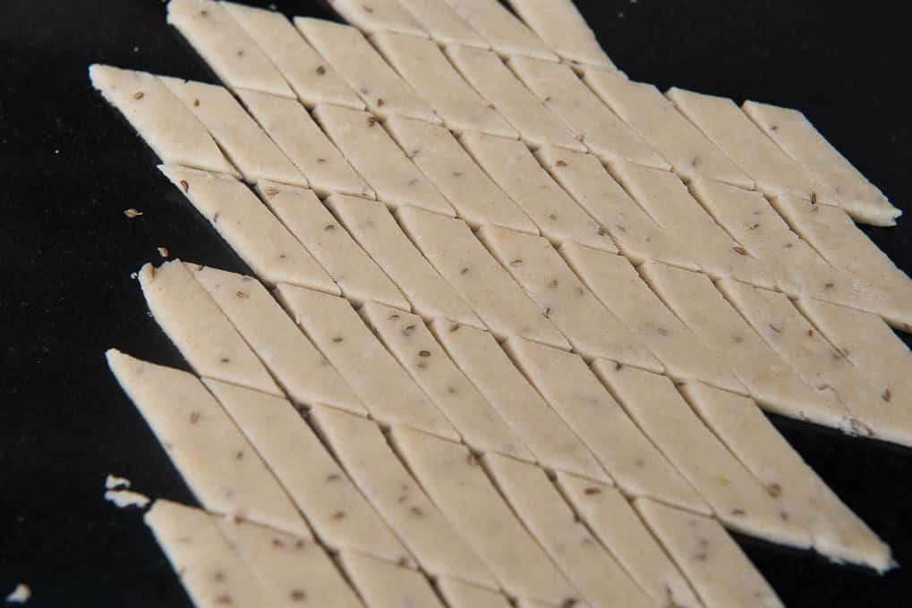 Dough cut into thin rectangles