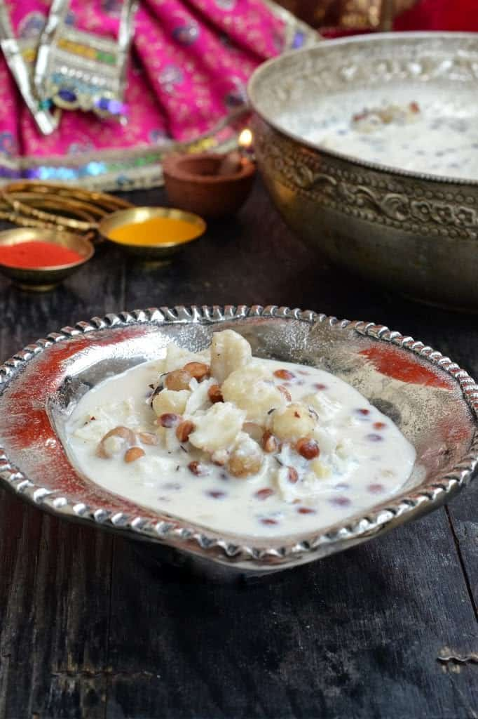 Mewa ki kheer is made especially for the vrat or falahar and is loaded with nutritions dry fruits. . Get the falahari recipe to make it here.