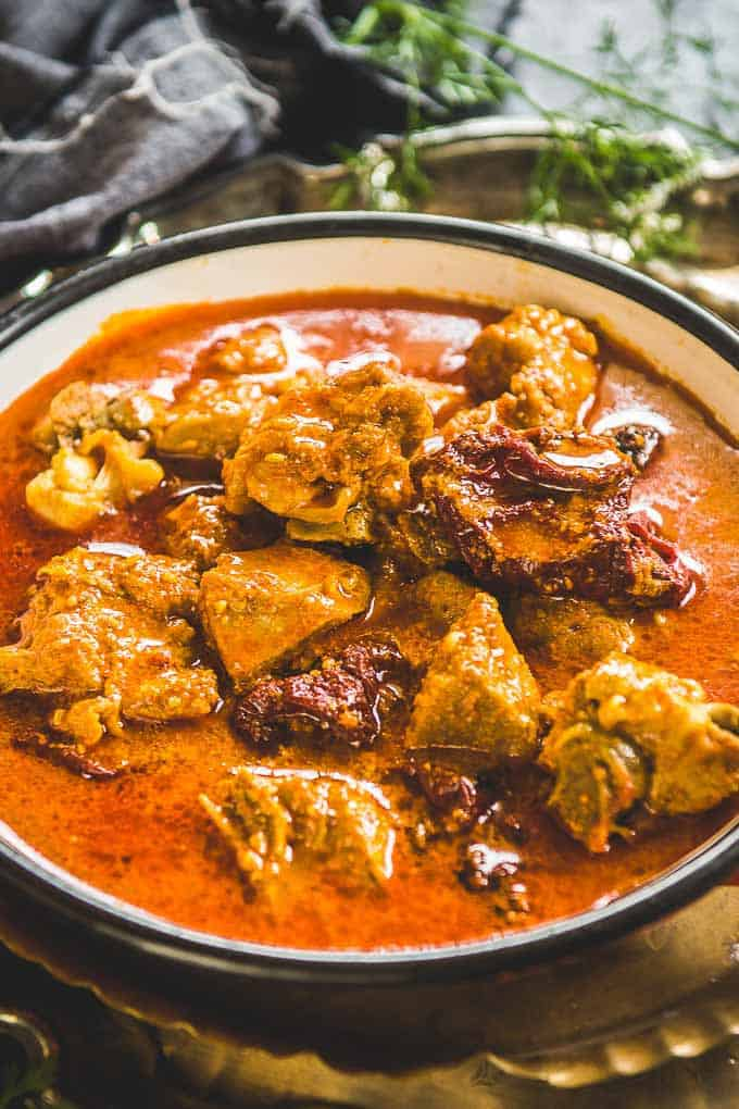 Close up view of Mutton Rogan Josh