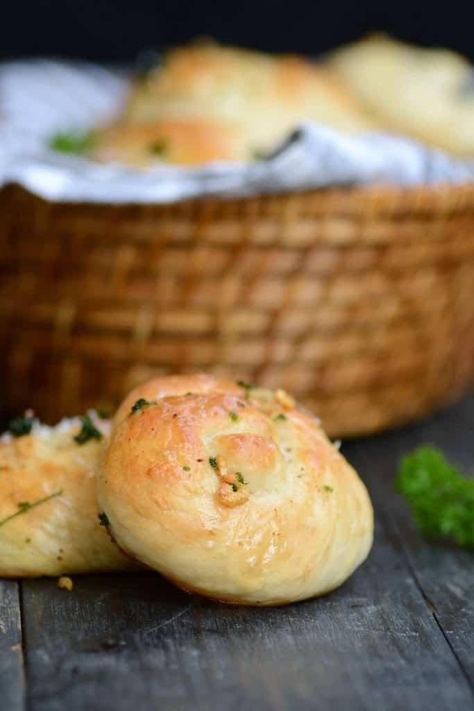 Parmesan Garlic knots are super delicious. The butter and garlic poured on top takes these to a different level and makes them irresistible.