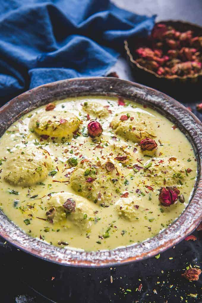 Rasmalai served in a bowl.