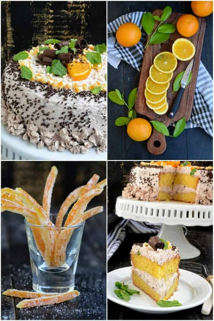 Orange Cake with Chocolate Whipped Cream is very moist and soft and the frosting light and airy. The candied orange peel gives it a slight tang.
