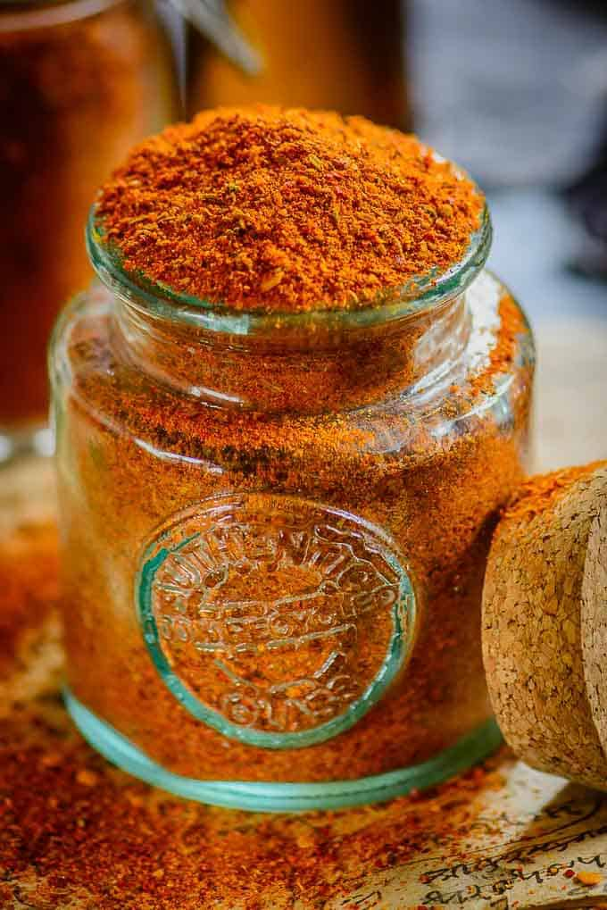 Close up view of achari masala in a jar