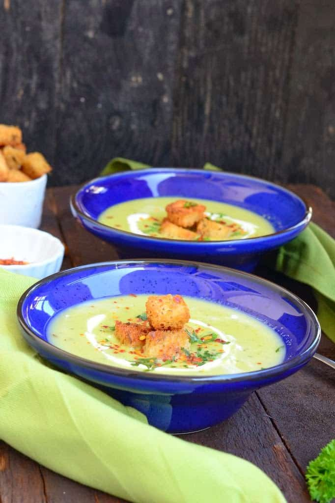 This soup is creamy, filling and very healthy. You could serve Creamy Peas and Corn Soup with a loaf of bread and your dinner is taken care of.