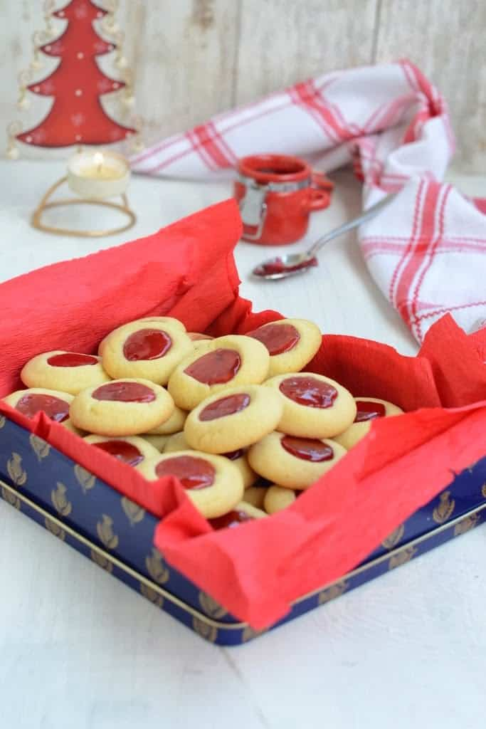 Raspberry Thumbprint Cookies are crisp, melt in your mouth and can be stored in an airtight container and enjoyed at leisure.