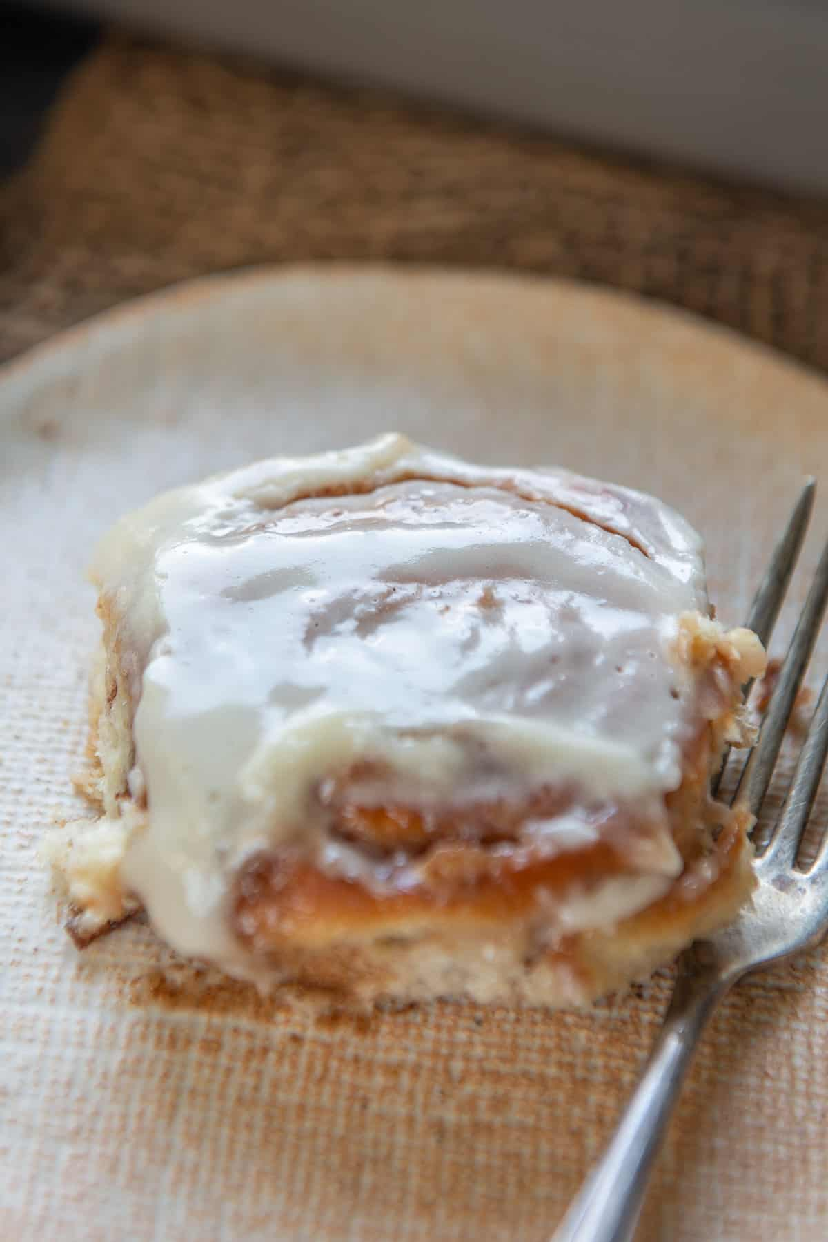Cinnamon roll served on a plate.
