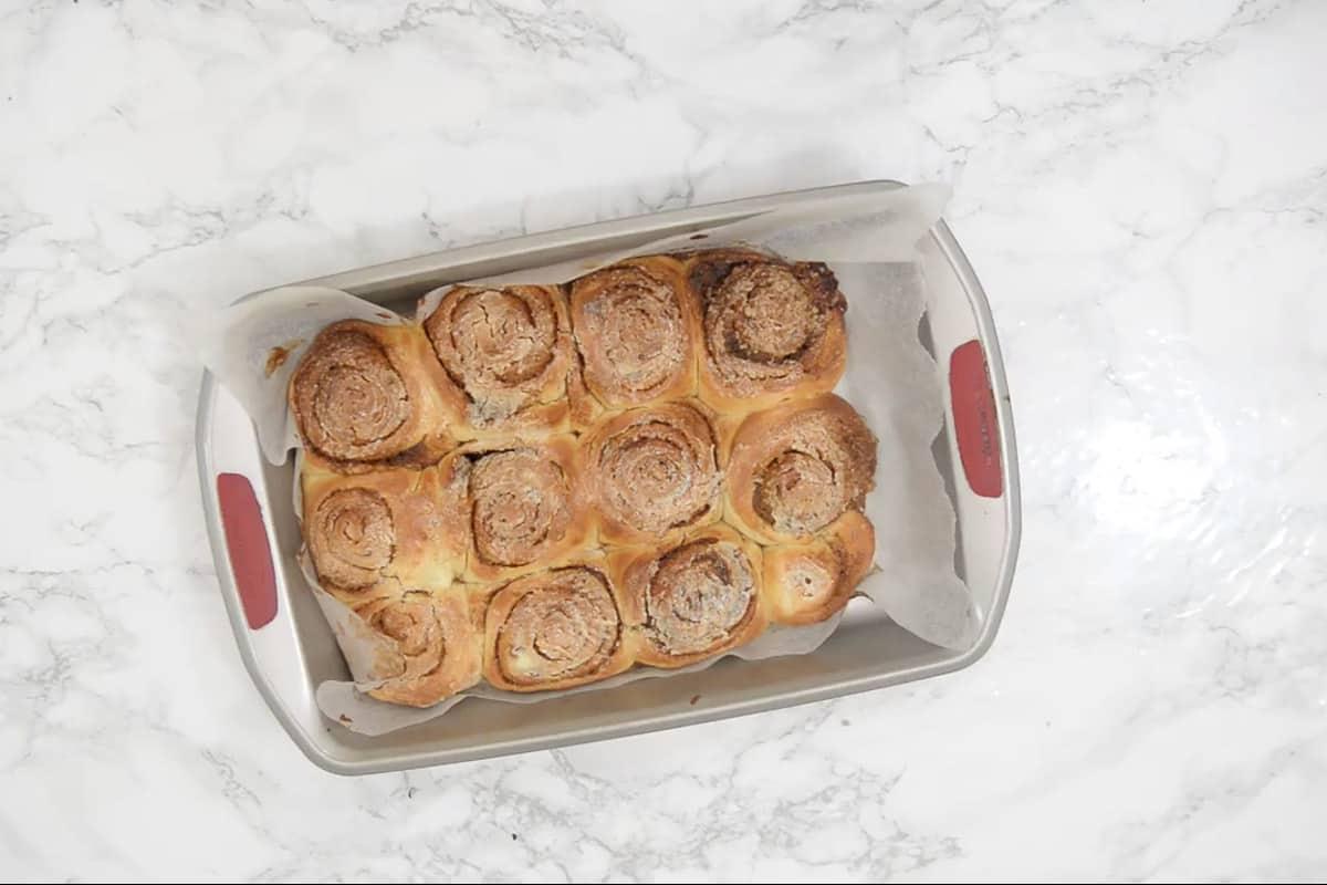 Baked cinnamon rolls.