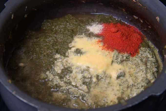 makki ka atta, red chilli powder, hing and salt added in cooker