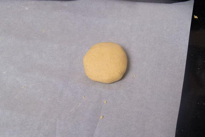 Ball of dough kept on a parchment paper