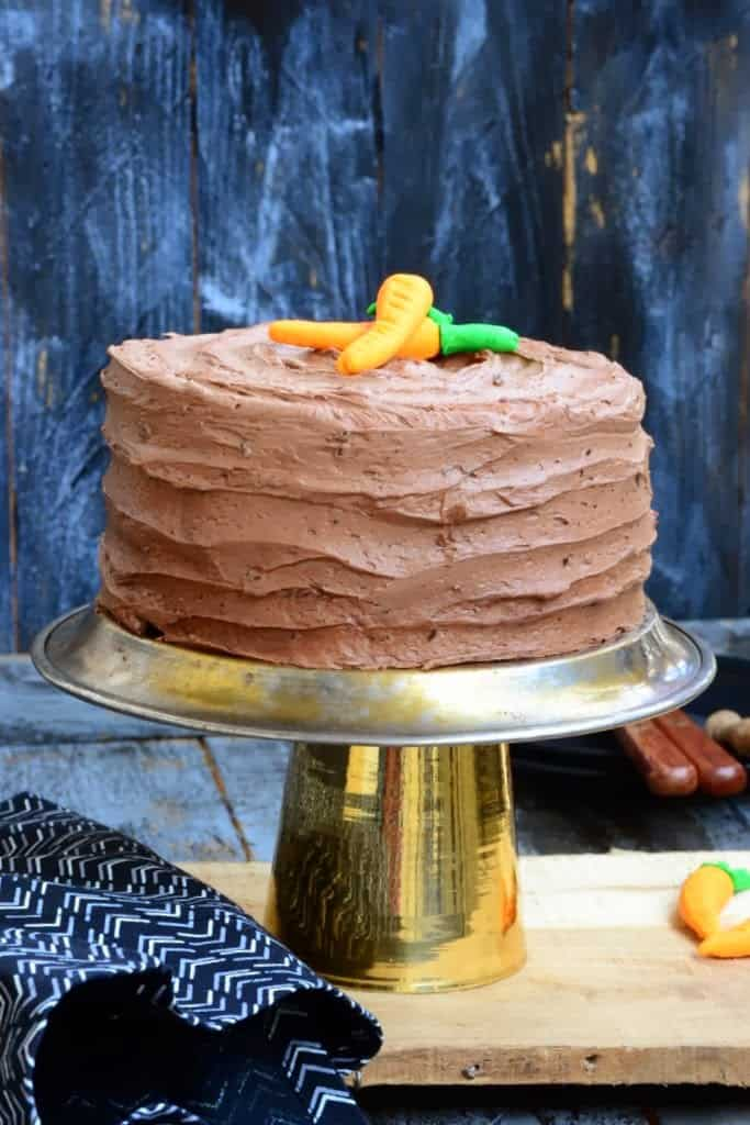 Chocolate and Pecan Carrot Cake with Chocolate Cream Cheese Frosting
