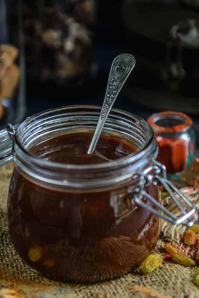 Tamarind Chutney in a jar.