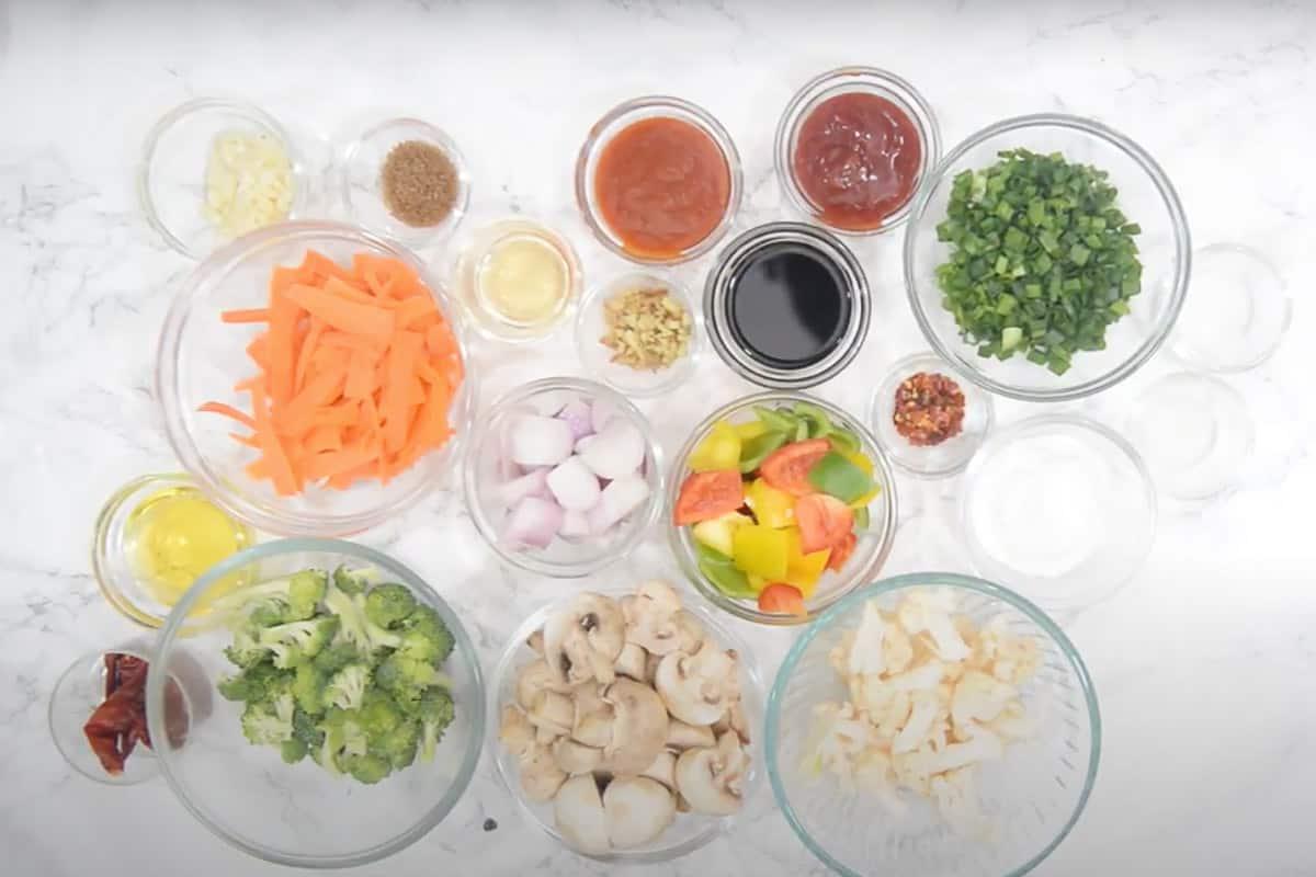 Verduras en salsa de ajo picante Ingredientes