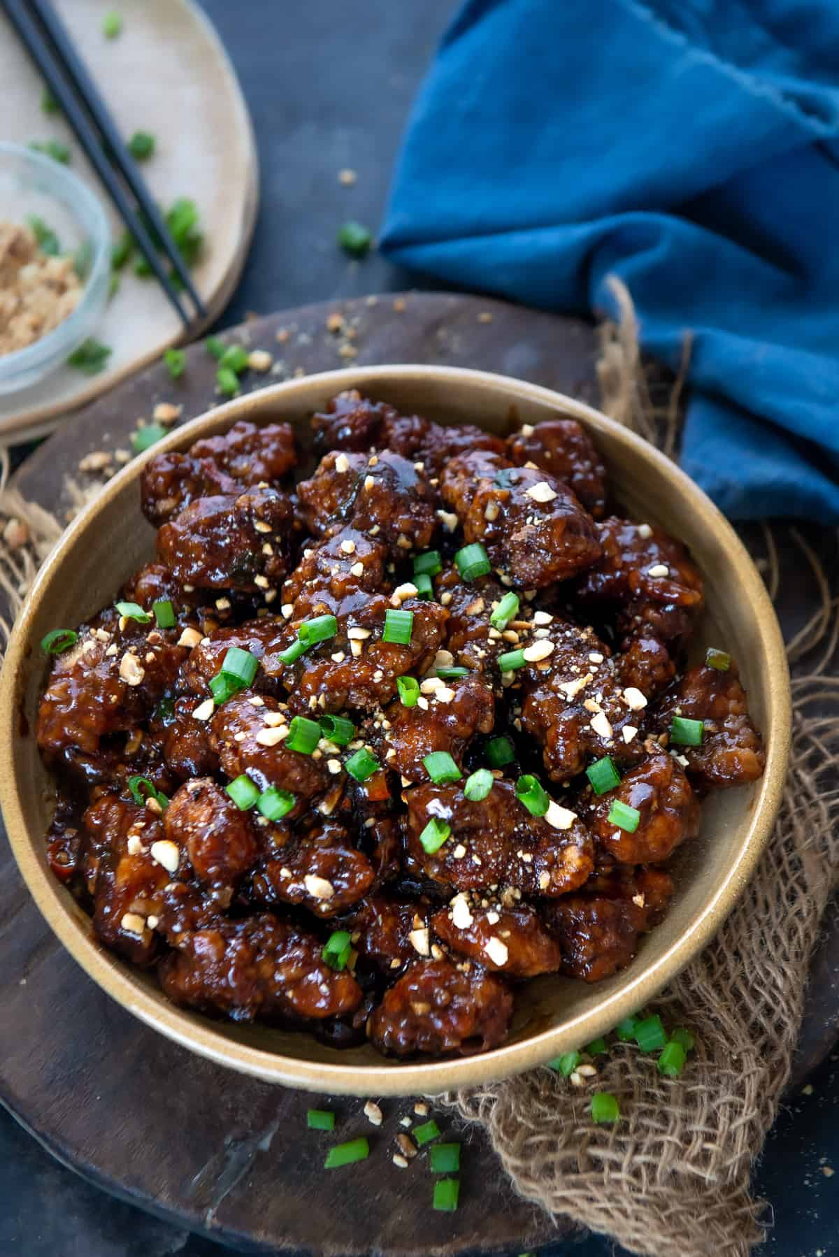 General tso's chicken served in a bowl.