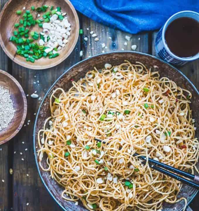 Peanut Sesame Noodles served in a bowl.