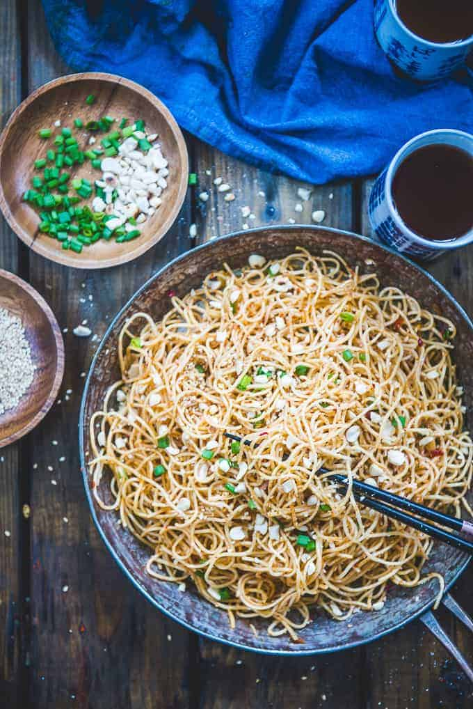 Peanut Sesame Noodles served in a bowl.