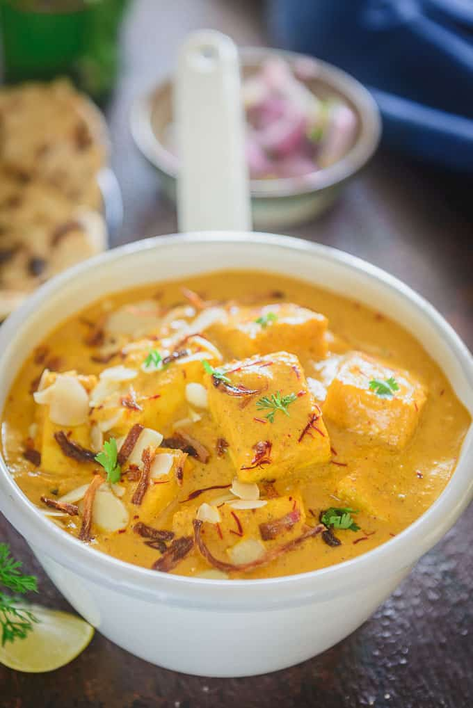 Restaurant style shahi paneer served in a bowl.