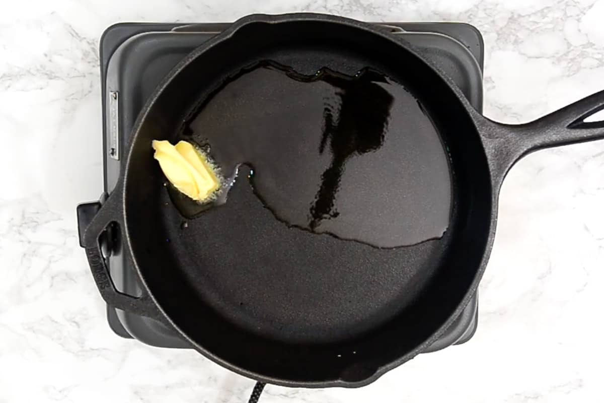 Butter and oil heating in a pan.