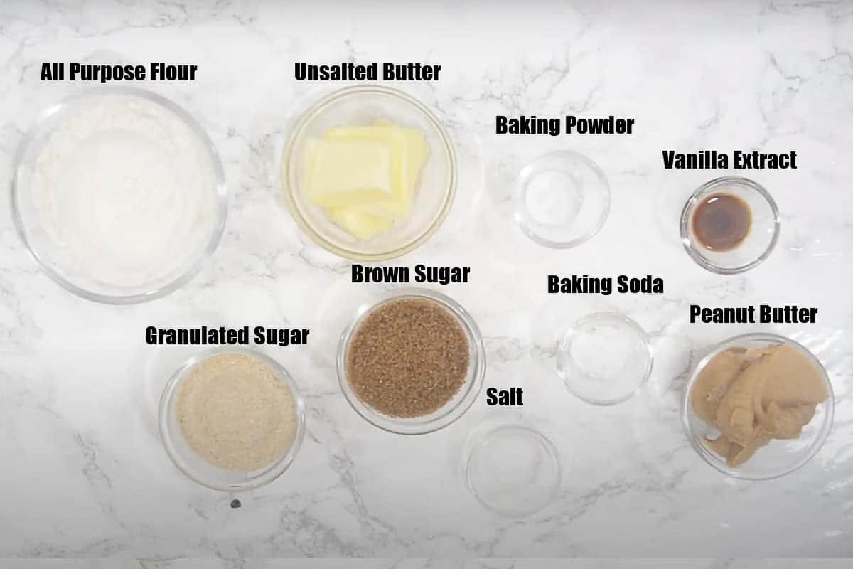Peanut Butter Cookies Ingredients.