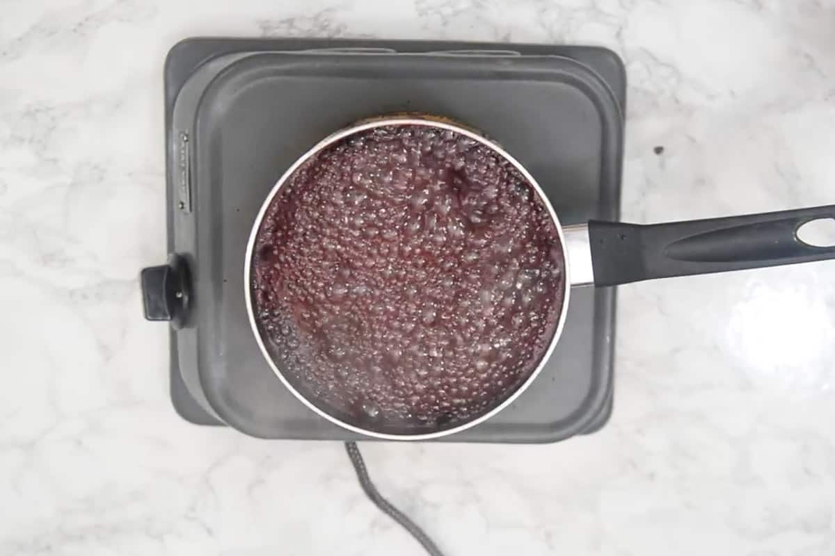 Red wine mixture reduced to syrup.