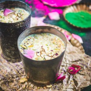 Thandai is a popular Indian drink often associated with Mahashivratri and Holi. It is made using dry fruits, spices and saffron.