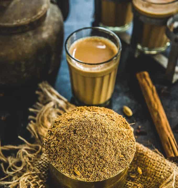 Chai masala kept in a bowl.