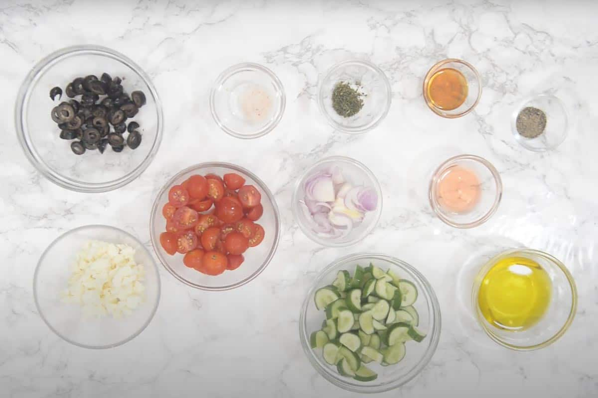Greek Salad Ingredients.